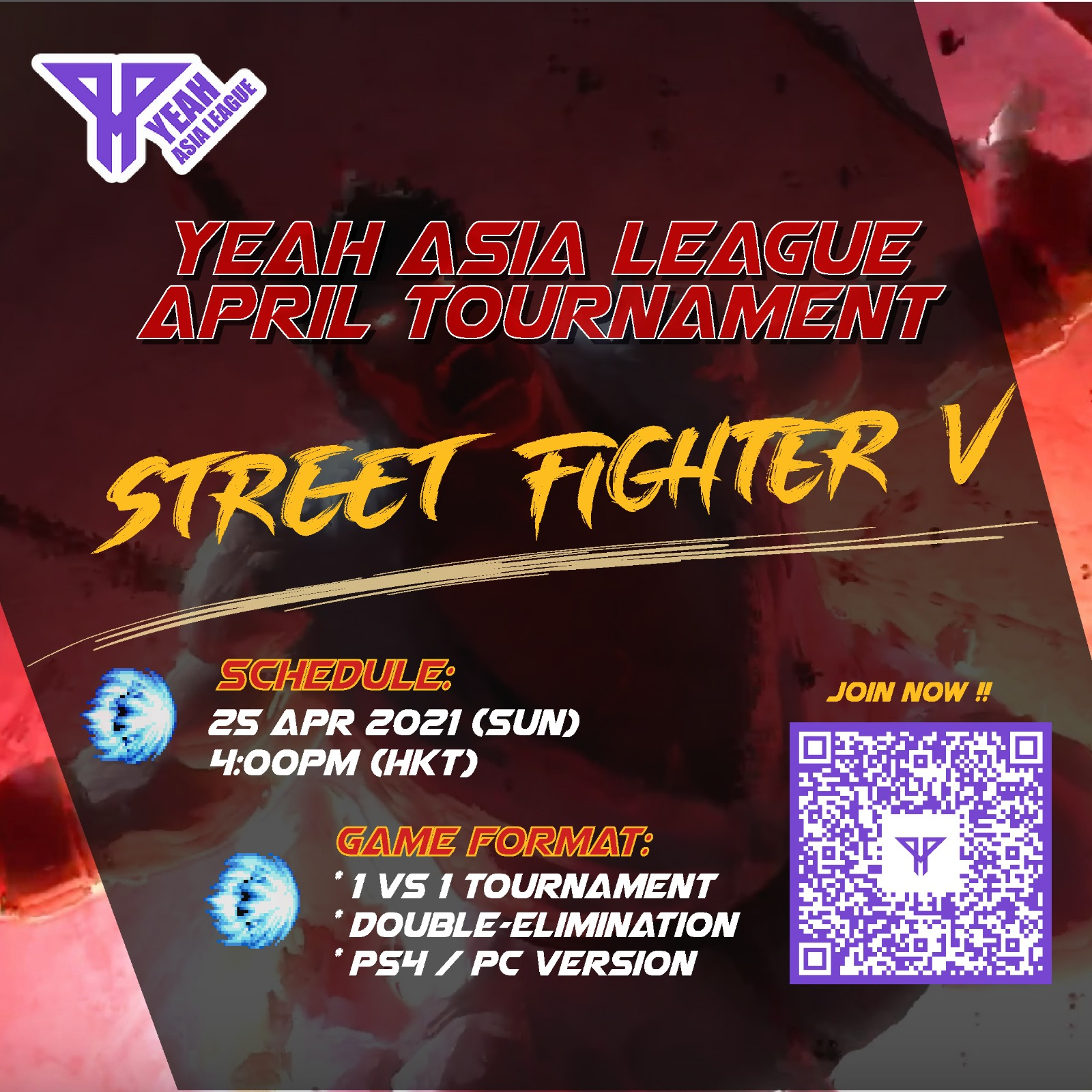YEAH Asia League – Street Fighters V Weekend Tournament – April 2021